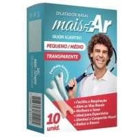 Dilatador Nasal Anti-Ronco Crivitta Mais Ar 10 Unidades Transparente Tamanho Pequeno e Médio