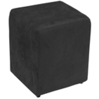 Puff Quadrado Decorativo Suede Preto Amassado - Lyam Decor