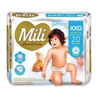 Fralda Mili Love e Care Jumbo XXG 20 Unidades