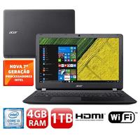 Notebook Acer Aspire ES1-572-36FV Intel Core i3-7100U 4GB 1TB 2,4GHz 15.6 Windows 10 Preto