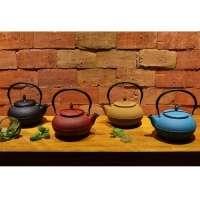 Conjunto Mta 4 Chaleiras De Ferro Fundido Com Coador Interno Para Chá