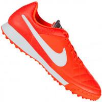 Chuteira Society Nike Tiempo Genio Leather TF Masculino Laranja ... 416eeb785ec68