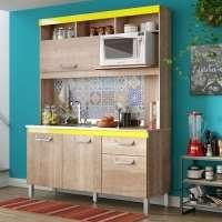 Cozinha Compacta Jaeli Lis Com 4 Portas 1 Gaveta Reversível Roble Flex