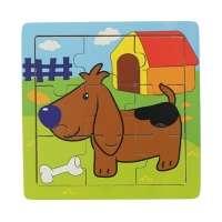 Quebra-cabeça Linha de Madeira Cão 9 Peças