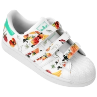 eb85908a3bf Tênis Adidas Star 2 Flower CF Infantil Branco e Laranja
