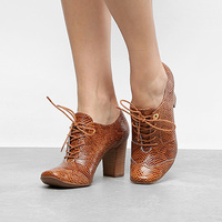Ankle Boot Couro Jorge Bischoff Salto Grosso Snake - Feminino