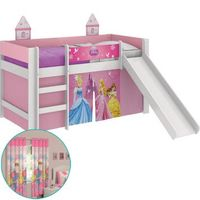 Cama Pura Magia Princesas Disney Play + Escorregador  + Cortina Santista 180X280 Rosa