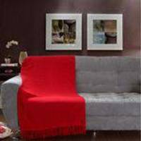 Manta Para Sofá Tela Mineira 130x180cm Vermelha