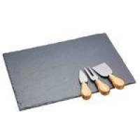 Set Bandeja De Ardosia e Facas 35x25cm Kitchen Craft
