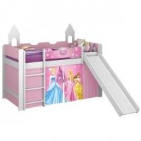 Cama Princesas Disney Play Pura Magia com Escorregador Rosa e Branco