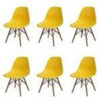 Conjunto 6 Cadeiras Dkr Eames Polipropileno Base Eiffel Madeira Amarela Inovakasa
