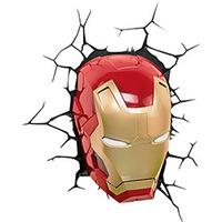 Luminária 3D Light FX de Parede Máscara Homem de Ferro
