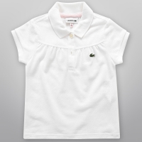 Camisa Polo Lacoste Infantil Feminina Branca Lisa   JáCotei 2d0a1cfaf9