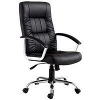 Cadeira Office Presidente Plus em Couro Sintético com Função Relax Preta e Crome Importado