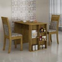 Conjunto Sala de Jantar Mesa Siena 2 Cadeiras Ravena Cel Móveis Ypê/ Veludo Envelhecido 70