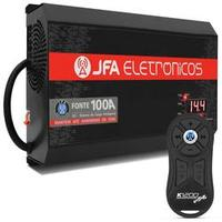 Fonte Automotiva JFA 100A 1500W SCI Bivolt + Controle Longa Distância JFA K1200 1200 Metros Preto