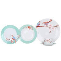 Aparelho de Jantar Casambiente Bird Porcelana Redondo Branco 30 Peças