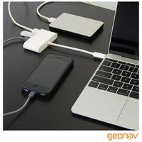 Cabo Adaptador Geonav UCA07 USB-C para 4x USB s F Branco