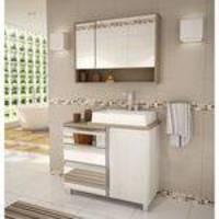 Gabinete Para Banheiro Com Pés Espelheira E Cuba Balcony Torino 90cm Ártico/Linho