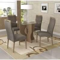 Conjunto De Mesa Liptus Isis Com 4 Cadeiras Estofadas Pena Castor Auris