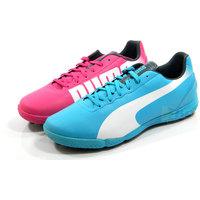chuteira puma rosa e azul futsal