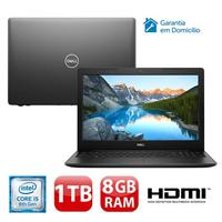 "Notebook Dell Inspiron I15-3583-D3XP i5-8265U 8GB 1TB 1.6GHz 15.6"" Linux Preto"