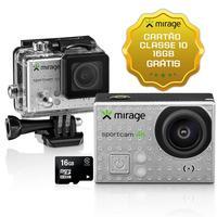 Câmera De Ação Mirage MR3001 Sport 4k 16MP Prata + Cartão 16GB