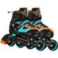 Patins Infantil CKS Spin Roller Start New 04 Rodas - Ajustável Tam. 33 a 36 - Preto/Azul