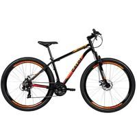 Bicicleta Aro 29 Mountain Bike Caloi Vulcan Freio A Disco 21 Marchas Preta e Laranja
