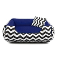 Cama Pet Cachorro Gato Dupla Face Lola - M - Chevron Navy