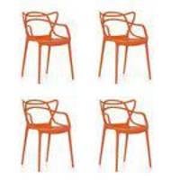 Conjunto Com 4 Cadeiras Solna Allegra De Polipropileno Laranja Inovakasa