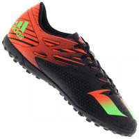 Chuteira Society Adidas Messi 15.4 TF Preto e Laranja Escuro  9ee450e2682ea
