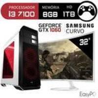 Pc Gamer Intel Core i3 7100 Geforce Gtx 1060 6GB Monitor Curve Samsung 32 C32F391 8GB 1TB EasyPC
