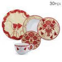 Aparelho De Jantar Em Cerâmica 30 Peças Pendants Marsala