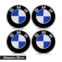 Jogo 4 Emblema Roda  BMW 65mm Calota