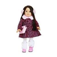 Boneca Maria Eduarda com vestido Leopardo + Protetor de Orelha + Bolsa e Bota - Maria Girl