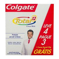 Kit Creme Dental Colgate Total 12 Clean Mint 90g 4 Unidades