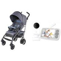 Babá Eletrônica Motorola Ease34 + Carrinho De Bebê Chicco Lite Way Spectrum - 0 a 15kg