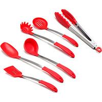 Conjunto de utens lios la cuisine silicone vermelho 6 for Attrezzi da cucina in silicone