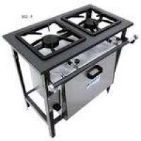 Fogão Industrial Metal brey 2 Bocas Alta Pressão 40x40 Centro Cozinha Com forno