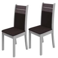 Kit 2 Cadeiras Madesa Caribe 4231 Branco e Carvalho Frances Suede Urano