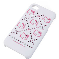 Capa para IPhone 4/4S Case Mix Hello Kitty Xadrez Cristais Branca