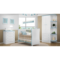 Quarto De Bebê Completo Doce Sonho Branco Azul Lojix Qmovi
