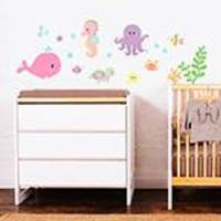 Adesivo de Parede Decorativo Infantil Stixx Kit Fundo do Mar Menina Colorido (46x143x1cm)