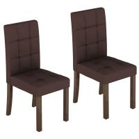 Kit de Cadeiras Madesa Ferrara Tecido Suede Marrom 2 Peças