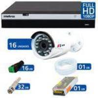 Kit Full HD DVR Intelbras 1080p + 16 Câmeras de Segurança Full HD 1080p Focusbras FS-MDF2M + Acessór