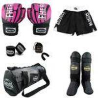 Kit Boxe com Caneleira Shorts e Bolsa 12 oz Elite Rosa