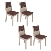 Kit 4 Cadeiras Madesa Olga 4223A Bege e Marrom