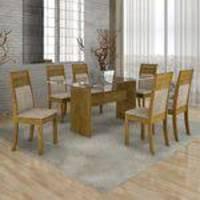 Conjunto Sala de Jantar Mesa 6 Cadeiras Ravena 160cm Cel Móveis Ypê/ Suede Animale Cru 51