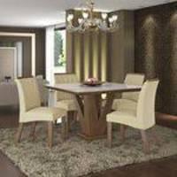 Conjunto Sala De Jantar Mesa Tampo Mdf/vidro 4 Cadeiras Jade Lj Móveis Castanho